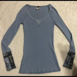 Free People We The Free | Blue Waffle Knit LS Top